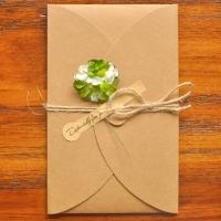 Grußkarte, Kraftpapier, mit Getrocknete Blumen, handgemacht, verschiedene Größen vorhanden & verschiedene Stile für Wahl, 10PCs/Menge, verkauft von Menge
