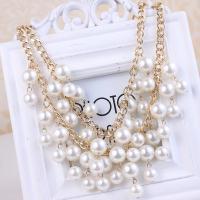 Zinklegierung Halskette, mit Kunststoff Perlen, plattiert, mehrschichtig & für Frau, Goldfarbe, frei von Nickel, Blei & Kadmium, verkauft per 17.7 ZollInch Strang