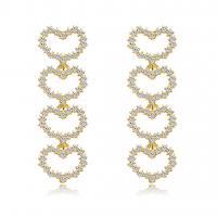 Zinklegierung Ohrringe, mit Strass, Herz, goldfarben plattiert, für Frau, frei von Nickel, Blei & Kadmium, 46x15mm, 3PaarePärchen/Menge, verkauft von Menge
