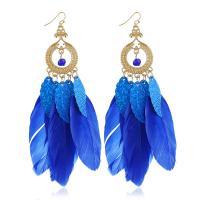 Zinklegierung Tropfen Ohrring, mit Pailletten & Feder, plattiert, für Frau, keine, frei von Nickel, Blei & Kadmium, verkauft von Paar