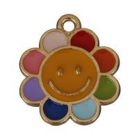 Zinklegierung Blume Anhänger, Rósegold-Farbe plattiert, Emaille, frei von Nickel, Blei & Kadmium, 16x18.50x1.50mm, Bohrung:ca. 1.5mm, 50PCs/Menge, verkauft von Menge