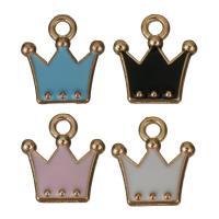 Zinklegierung Krone Anhänger, Rósegold-Farbe plattiert, Emaille, keine, frei von Nickel, Blei & Kadmium, 11x12x2mm, Bohrung:ca. 2mm, 50PCs/Menge, verkauft von Menge