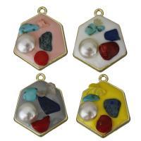 Zink-Legierung-Emaille-Anhänger, Zinklegierung, mit Edelstein- Chips & Kunststoff Perlen, goldfarben plattiert, keine, frei von Nickel, Blei & Kadmium, 21x26x6.50mm, Bohrung:ca. 2mm, 30PCs/Menge, verkauft von Menge