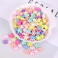 Acryl Schmuck Perlen, Blume, plattiert, DIY, gemischte Farben,  13mm, 500G/Tasche, verkauft von Tasche