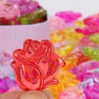 Acryl Anhänger, Rose, plattiert, DIY, gemischte Farben, 15*28mm, 500G/Tasche, verkauft von Tasche