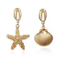 Zinklegierung asymmetrische Ohrringe, goldfarben plattiert, für Frau, frei von Nickel, Blei & Kadmium, 28x50mm,20x42mm, 2PaarePärchen/Menge, verkauft von Menge