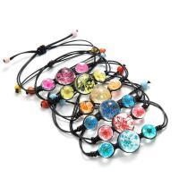 Glas Armband, mit Getrocknete Blumen & Lederband, für Frau, keine, frei von Nickel, Blei & Kadmium, 12mm, Länge:ca. 8 ZollInch, 2PCs/Menge, verkauft von Menge