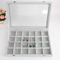 Mehrzweck-Display, Baumwollsamt, Rechteck, verschiedene Stile für Wahl, grau, 350x240x45mm, 3/setzen, verkauft von setzen