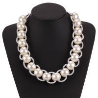 Plastik-Perlenkette, Kunststoff Perlen, mit Baumwolle Schnur & Zinklegierung, plattiert, für Frau, keine, frei von Nickel, Blei & Kadmium, verkauft von Strang