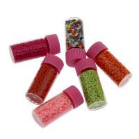 Volltonfarbe Glas Rocailles, Glas-Rocailles, mit Kunststoffkappe & Glasflasche, verschiedene Größen vorhanden, keine, Bohrung:ca. 1mm, 10Fässer/Menge, verkauft von Menge