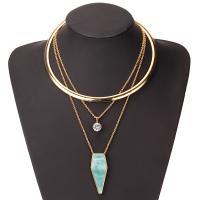 Kristall Zinklegierung Halskette, mit Kristall & Harz, plattiert, für Frau, goldfarben, verkauft von Strang