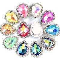 Kristall Zubehör, mit Messing, Tropfen, Platinfarbe platiniert, DIY, mehrere Farben vorhanden, 18x13mm, 20PCs/Tasche, verkauft von Tasche
