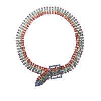 Zinklegierung Halsreif, plattiert, für Frau & mit Strass, farbenfroh, frei von Nickel, Blei & Kadmium, 380mm, 2SträngeStrang/Menge, verkauft von Menge