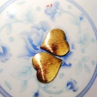 Messing Cabochon Einstellungen, Herz, gebürstet, originale Farbe, frei von Nickel, Blei & Kadmium, 19.50x19x0.80mm, 50PCs/Tasche, verkauft von Tasche