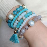 Harz Armband, mit Baumwollfaden & Zinklegierung, synthetisch, elastisch & unisex, keine, 180x28mm, Länge:180 Millimeter, verkauft von PC