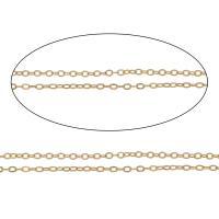 Eisen Schmuckketten, mit Kunststoffspule, KC goldfarben plattiert, Oval-Kette, frei von Nickel, Blei & Kadmium, 1mm, 100m/Spule, verkauft von Spule