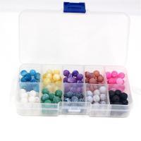Mischedelstein Perlen, Auswitterung Achat, mit Lava, rund, gemischte Farben, 8mm, Bohrung:ca. 1mm, verkauft von Box