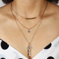 Zinklegierung Halskette, plattiert, mehrschichtig & böser Blick- Muster & für Frau, goldfarben, frei von Nickel, Blei & Kadmium, verkauft von Strang