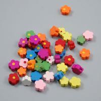 Holzperlen, Holz, Blume, verschiedene Größen vorhanden, gemischte Farben, Bohrung:ca. 2mm, 100PCs/Tasche, 5Taschen/Menge, verkauft von Tasche