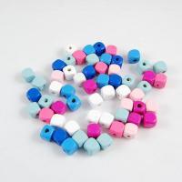 Holzperlen, Holz, Quadrat, poliert, gemischte Farben, 10x10mm, Bohrung:ca. 3.5mm, 50PCs/Tasche, 5Taschen/Menge, verkauft von Tasche