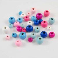 Holzperlen, Holz, rund, poliert, verschiedene Größen vorhanden, gemischte Farben, Bohrung:ca. 2.5-3.8mm, 200PCs/Tasche, 5Taschen/Menge, verkauft von Tasche