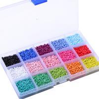 Mode Glasperlen, Glas, Einbrennlack, DIY, gemischte Farben, 3mm, Bohrung:ca. 0.3mm, ca. 18000PCs/Box, verkauft von Box