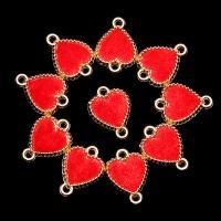 Herz Zinklegierung Schmuckverbinder, mit Baumwollsamt, plattiert, 1/1-Schleife, rot, frei von Nickel, Blei & Kadmium, 17*13mm, 10PCs/Tasche, verkauft von Tasche