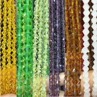 Kristall-Perlen, Kristall, mehrere Farben vorhanden, 5mm, Bohrung:ca. 1mm, ca. 50PCs/Strang, verkauft von Strang