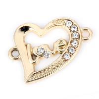 Herz Zinklegierung Schmuckverbinder, plattiert, mit Strass & 1/1-Schleife, goldfarben, frei von Nickel, Blei & Kadmium, 21*23mm, 10PCs/Tasche, verkauft von Tasche