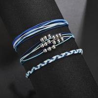 Nylonschnur Armband-Set, mit Zinklegierung, plattiert, für Frau, blau, verkauft von setzen