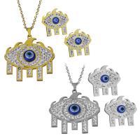 Edelstahl Mode Schmuckset, Halskette, mit Ton, blöser Blick, plattiert, Oval-Kette & für Frau, keine, 34.5x35mm,2mm,24x23.5mm, Länge:ca. 19.5 ZollInch, verkauft von setzen