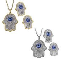 Edelstahl Mode Schmuckset, Halskette, mit Ton, Evil Eye Hamsa, plattiert, Oval-Kette & für Frau, keine, 27.5x37.5mm,2mm,18x23mm, Länge:ca. 18 ZollInch, verkauft von setzen
