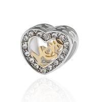 Zinklegierung Herz Perlen, plattiert, DIY & mit Strass, Silberfarbe, frei von Nickel, Blei & Kadmium, 11*11mm, 10PCs/Tasche, verkauft von Tasche