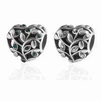 Zinklegierung Herz Perlen, plattiert, DIY & mit Strass, keine, frei von Nickel, Blei & Kadmium, 12*12mm, 10PCs/Tasche, verkauft von Tasche