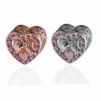 Zinklegierung Herz Perlen, plattiert, DIY & mit Strass, keine, frei von Nickel, Blei & Kadmium, 9*11mm, 10PCs/Tasche, verkauft von Tasche