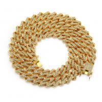 Zinklegierung Pullover Halskette, plattiert, verschiedene Größen vorhanden & für den Menschen & mit Strass, keine, frei von Nickel, Blei & Kadmium, verkauft von Strang