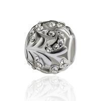 Strass Zinklegierung Perlen, plattiert, DIY & mit Strass, Silberfarbe, frei von Nickel, Blei & Kadmium, 9*10mm, Bohrung:ca. 5mm, 10PCs/Tasche, verkauft von Tasche