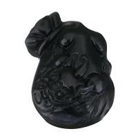 Schwarzer Obsidian Anhänger, schwarz, 24x35x12.50mm, Bohrung:ca. 1mm, verkauft von PC