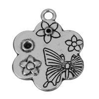 Zinklegierung Blume Anhänger, Emaille, Silberfarbe, frei von Nickel, Blei & Kadmium, 20x25x2mm, Bohrung:ca. 2.5mm, 150PCs/Menge, verkauft von Menge