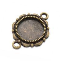 Zinklegierung Schmuckverbinder Einstellung, plattiert, 1/1-Schleife, keine, frei von Nickel, Blei & Kadmium, 19.8x27.4mm, Bohrung:ca. 2mm, Innendurchmesser:ca. 14mm, 100PCs/Tasche, verkauft von Tasche