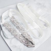 Ziergürtel, Zinklegierung, mit Satinband & Strass, für Frau & mit Strass, Silberfarbe, 42.5cm, verkauft von PC