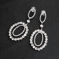 Strass Tropfen Ohrring, für Frau, Silberfarbe, 8x3.5CM, verkauft von Paar