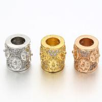 Messing Zylinder, plattiert, Micro pave Zirkonia, keine, frei von Nickel, Blei & Kadmium, 8.5x9.5mm, Bohrung:ca. 4.5mm, 5PCs/Tasche, verkauft von Tasche