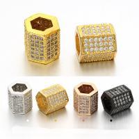Zirkonia Micro Pave Messing Europa Bead, plattiert, Micro pave Zirkonia, keine, frei von Nickel, Blei & Kadmium, 8x9mm, Bohrung:ca. 5mm, 5PCs/Tasche, verkauft von Tasche