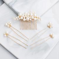 Braut Schmucksets, ABS-Kunststoff-Perlen, Haar Kamm & Haar-Stick, mit Messingdraht, handgemacht, für Frau, goldfarben, 5.5x8cm,7.5cmx1.5cm, verkauft von setzen