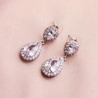 Braut Ohrring, Zinklegierung, mit Strass, für Frau & mit Strass, Silberfarbe, 1.2cmx3cm, verkauft von Paar
