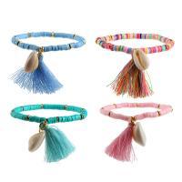 Baumwolle Armband, mit Gummi & Muschel, plattiert, für Frau, keine, 2cm*1.4cm, Bohrung:ca. 5mm, verkauft per 6.6 ZollInch Strang