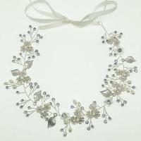 Braut Haarband, Zinklegierung, plattiert, für Braut & Emaille & mit Strass, keine, frei von Nickel, Blei & Kadmium, 50x360mm, verkauft von PC