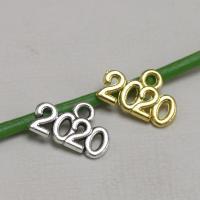 Zinklegierung Buchstaben Anhänger, Zahl, plattiert, keine, frei von Nickel, Blei & Kadmium, 14x10mm, Bohrung:ca. 1mm, 100PCs/Tasche, verkauft von Tasche