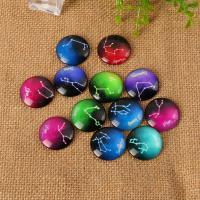 Glas Cabochons, mit Epoxy-Sticker, Zeit Edelstein Schmuck & verschiedene Größen vorhanden & flache Rückseite & gemischt, 200PCs/Menge, verkauft von Menge